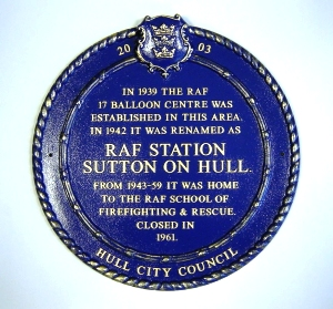 Plaque to commemorate the site of RAF Sutton on Hull, 1939 to 1961. . . see larger pic and article below on presentation of Plaque in 2003