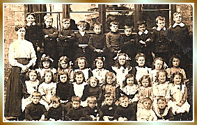 a 1914 image of children and teacher at St James' School, Sutton on Hull